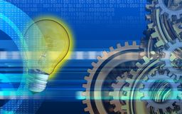 3d digital. 3d illustration of light bulb over cyber background with gears system Stock Photos