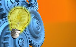 3d blue gears. 3d illustration of light bulb over orange background with blue gears Royalty Free Stock Photo