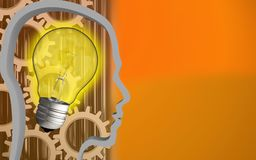 3d head contour. 3d illustration of light bulb over orange background with gears Stock Photography