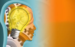 3d light bulb. 3d illustration of light bulb over orange background with gears Royalty Free Stock Image