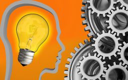 3d blank. 3d illustration of light bulb over orange background with mechanic Stock Photo
