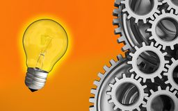 3d light bulb. 3d illustration of light bulb over orange background with mechanic Stock Photography