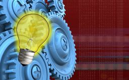 3d blank. 3d illustration of light bulb over red background with blue gears Royalty Free Stock Image