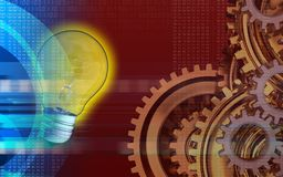 3d blank. 3d illustration of light bulb over red background with gears system Stock Photography