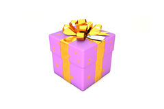 3d illustration: Light purple - violet gift box with star, golden metal ribbon / bow and tag on a white background isolated. Stock Photography