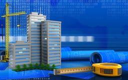 3d. Illustration of living quarter with crane over digital background Stock Image