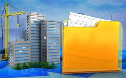3d. Illustration of living quarter with crane over skyscrappers background Stock Photos