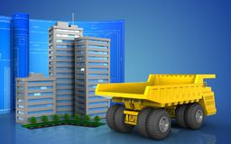 3d blank. 3d illustration of living quarter with drawing roll over blue background Royalty Free Stock Photos
