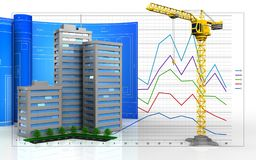 3d blank. 3d illustration of living quarter with drawing roll over business graph background Stock Photography