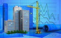 3d. Illustration of living quarter with drawing roll over graph background Stock Photo