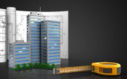 3d blank. 3d illustration of living quarter with drawings over black background Stock Images