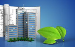 3d of living quarter. 3d illustration of living quarter with drawings over blue background Royalty Free Stock Image