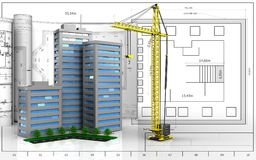 3d of crane. 3d illustration of living quarter with drawings over blueprint background Stock Image