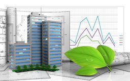 3d with drawings. 3d illustration of living quarter with drawings over business graph background Royalty Free Stock Image