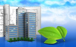 3d of living quarter. 3d illustration of living quarter with drawings over sky background Royalty Free Stock Photography
