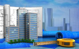 3d. Illustration of living quarter with drawings over skyscrappers background Royalty Free Stock Images