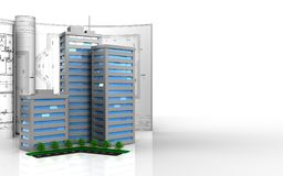 3d blank. 3d illustration of living quarter with drawings over white background Stock Photography