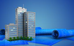 3d blank. 3d illustration of living quarter over blue background Royalty Free Stock Photography