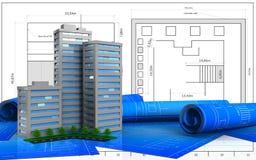 3d. Illustration of living quarter over blueprint background Royalty Free Stock Photography