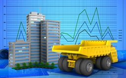 3d. Illustration of living quarter over graph background Stock Photo