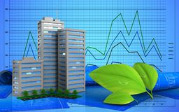 3d. Illustration of living quarter over graph background Stock Photos