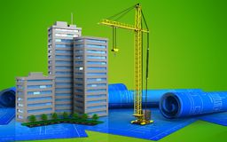 3d. Illustration of living quarter over green background Stock Images