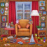 3D illustration living room design. Cozy home  place  interior  to relax   with books, window ,lamp , toys , armchair and other accessories Royalty Free Stock Image