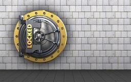 3d locked vault door safe. 3d illustration of locked vault door  over white stones background Stock Photography