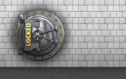 3d safe locked vault door. 3d illustration of locked vault door  over white stones background Stock Photos