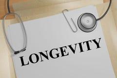 LONGEVITY - health concept. 3D illustration of LONGEVITY title on a medical document Stock Photography