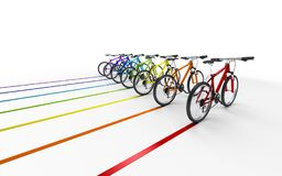 3d illustration. A lot of colorful bikes move to the right leavi. Ng a colored trail  on white background. Speed concept Royalty Free Stock Photography