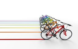 3d illustration. A lot of colorful bikes move to the right leavi. Ng a colored trail  on white background. Speed concept Stock Photography