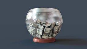 3D illustration of a lot of decks of money 100 dollars in a glass bowl. 3D illustration of a lot of decks of money 100 dollars with beige stripe in a glass bowl royalty free illustration