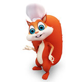 Loving squirrel in chef dress Stock Image
