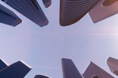 3D illustration Low angle view of skyscrapers. Skyscrapers at sunset looking up perspective. Bottom view of skyscrapers. In business district in evening light vector illustration