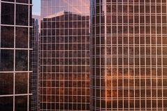 3D illustration Low angle view of skyscrapers. Skyscrapers at sunset looking up perspective. Bottom view of skyscrapers. In business district in evening light stock illustration