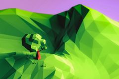 3d illustration low poly landscape tree and mountain.
