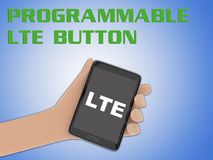 PROGRAMMABLE LTE BUTTON concept. 3D illustration of LTE script on the screen of a cellulr phone held by hand, isolated on blue gradient, with the script stock illustration