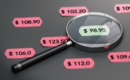 Shop Price Comparison Concept. 3d illustration of a magnifying glass over black background with price tags and focus on the cheapest one Stock Images
