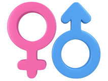 3d illustration of Male and female signs. Royalty Free Stock Photography
