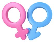 3d illustration of Male and female signs. Stock Images