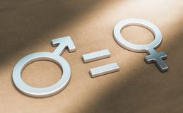 Women Rights, Sexual or Gender Equality. 3d illustration of male and female symbols with equal sign over paper background. Concept of women rights and gender stock illustration