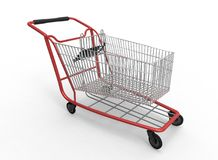 3d illustration of  mall shop cart. White background isolated. icon for game web Royalty Free Stock Photo
