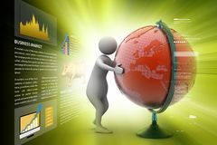 3d man analysing the globe. 3d illustration of  man analysing the globe Royalty Free Stock Images