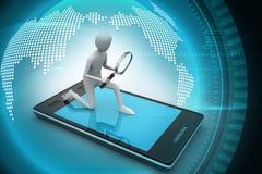 3d man analysing the tablet through magnifier. 3d illustration of man analysing the tablet through magnifier Stock Photos