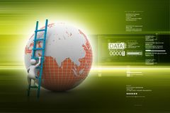 3d man climbing the Globe with the help of ladder in color back ground. 3d illustration of  man climbing the Royalty Free Stock Photos