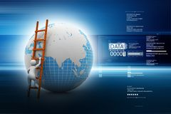 3d man climbing the Globe with the help of ladder in color back ground Stock Photography