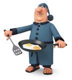The 3D illustration the man cooks fried eggs for breakfast Stock Photo