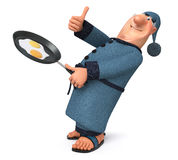 The 3D illustration the man cooks fried eggs for breakfast Royalty Free Stock Photography