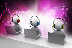 3D man with headset talking over the phone. 3d illustration of  man with headset talking over the phone Royalty Free Stock Photography